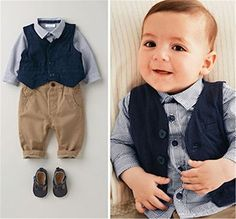 ODFAPP Adorable Autumn Baby Boy Clothes European And American Children Gentleman Baby Boy Shirt   Vest   Pants Three Pieces Clothing Set Male Blue3T Cool * Details can be found at