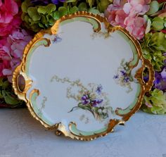 Beautiful Antique Limoges Porcelain Handled Plate ~ Lily of the Valley Gold Gilt #LatrilleFreresLimoges