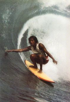 "Titus Nihi Kinimaka: No surfer is more synonymous with his hometown wave than the ""Godfather of Hanalei."" Although heÔøΩs more mellow now, Kinimaka is still king. No one paddles for his…More Retro Surf, Vintage Surf, Beach Aesthetic, Summer Aesthetic, Tumblr Bff, Portrait, Surfer Boys, Surfing Pictures, Big Waves"