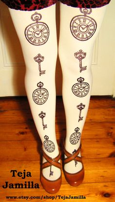 Pocket-Watch & Keys Tights Printed Plus Size Extra Large Black Pearl on Cream Victorian Gothic Lolita Steampunk Print. $22.00