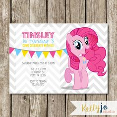 Items similar to Pinkie Pie My Little Pony Birthday Invites - Pink My Little Pony Birthday - Pink Pie Pony Party - Chevron and Pink My Little Pony Invites on Etsy My Little Pony Party, Fiesta Little Pony, Cumple My Little Pony, 80th Birthday Gifts, 3rd Birthday, Birthday Invitation Templates, Birthday Party Invitations, Invites, Pinkie Pie Party