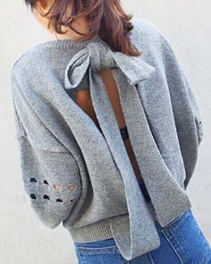 Casual Long Sleeve Backless Hollow Out Loose-Fitting Sweater For Women