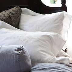 Pom Pom at Home Bedding Classica Embroidered Linen Pillow Sham.