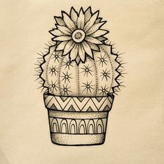 Except with a more simple terracotta pot. Love that! Except with a simpler terracotta pot. Tattoos, Art Drawings, Art Tattoo, Drawings, Flower Drawing, Art, Art Journal, Cute Drawings, Cactus Drawing