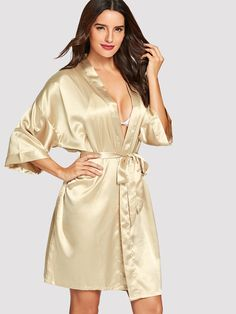 Shop Drop Shoulder Self Belted Robe online. ROMWE offers Drop Shoulder Self Belted Robe & more to fit your fashionable needs. Fashion News, Fashion Beauty, Satin Nightie, Dressing, Plus Size, Shoulder, How To Wear, Drop, Shopping