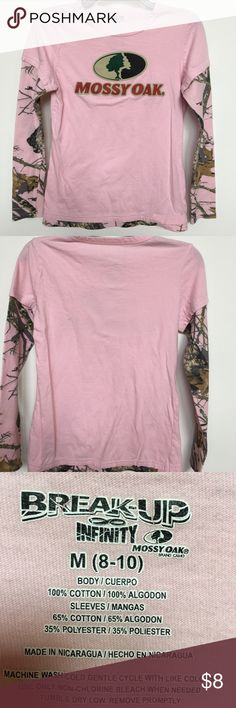 Breakup Mossy Oak tee shirt Pink Mossy Oak long sleeve tee shirt with Camo on sleeves. Size 8-10 Mossy Oak Tops Tees - Short Sleeve