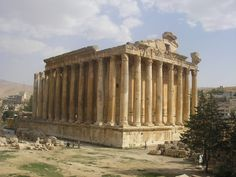 The Ancient Roman Temple of Bacchus in Baalbek, Lebanon, ca. 150 AD. The temple was commissioned by Roman Emperor Antoninus Pius, and is considered one of the best preserved Roman temples in the world.