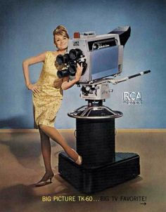 Cámara TV RCA TK60, 1965. Pub Vintage, Vintage Movies, Vintage Stuff, Cool Raspberry Pi Projects, Classic Camera, Vintage Television, Studio Equipment, Tvs, Movie Camera