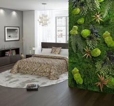 chambre moderne avec sol en parquet foncé, mur végétal, peinture grise et suspension design