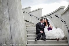 Wedding photography, Galina Signature dress, purple bouquet and groom in black and purple. Credit: Teryn Lee Photography