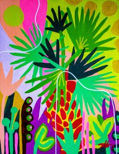 Valencia is inspired by Florida plant life and is an art print reproduction of an original acrylic painting by Chicago-based artist Ponnopozz (Adrianne Hawthorne) – Printed on thick, durable, matte paper. Archival and acid-free – from the Florida series – Plant Painting, Plant Art, Painting Inspiration, Art Inspo, Creation Art, Abstract Pattern, Abstract Art, Motif Floral, Arte Pop