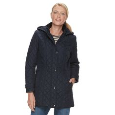 Women's Weathercast Quilted Hooded Midweight Jacket, Size: Medium, Blue (Navy)