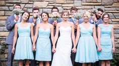Lace and chiffon Kennedy Blue bridesmaid dresses work beautifully together for a mix-and-match look!   How to Mix and Match Bridesmaid Dresses   Your Something Blue