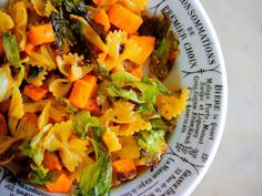 Sweet Roasted Butternut Squash And Escarole Over Bow-Tie Pasta
