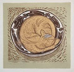 Holly Meade - Cat Sleeping in a Bowl, 2003 - Three Color Linocut and Woodblock Print