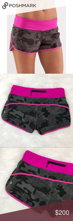 Lululemon | RARE Camo & Pink Speed Shorts 4 Lululemon speed shorts in very rare Wren Camo Paris pink prints. Zipper pocket in back with two small interior waistband pockets. 4-way stretch. Release date 1/2012. Great condition. Size 4.  We're given to me to sale, first owner wrote name inside. lululemon athletica Shorts