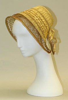 Bonnet Date: 1840–50 Culture: American Medium: silk, straw Dimensions: Height: 7 1/4 in. (18.4 cm), Width: 7 3/4 in. (19.7 cm)