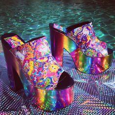 90's Lisa Frank Rainbow Heel Platform Wedge by FeelingVagueVintage