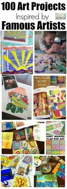 Love these for homeschool art! 100 fine art projects inspired by famous artists Art History Lessons, Art Lessons For Kids, Art Lessons Elementary, Art For Kids, Children Art Projects, Art History Projects For Kids, School Art Projects, Programme D'art, Famous Artists For Kids