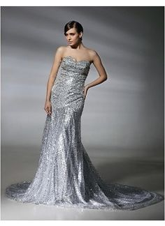 Stunning Trumpet Sweetheart Sweep Train Sequins Prom Dress Inspired by Natalie Mark