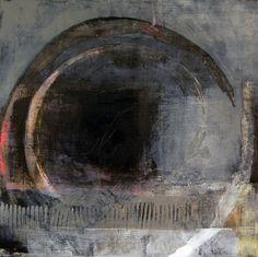 """Aperture""   Oil, coldwax, charcoal, 24""x24"" by   Karen L Darling"