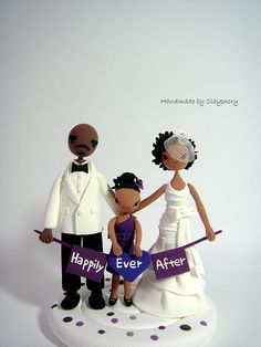 Family customized wedding cake topper