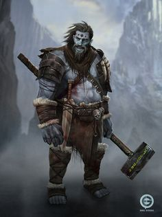 m Barbarian Medium Armor WarHammer mountains wilderness rough Fantasy Races, Fantasy Warrior, Fantasy Rpg, Fantasy Story, Fantasy Artwork, Dungeons And Dragons Characters, Dnd Characters, Fantasy Characters, The Elder Scrolls