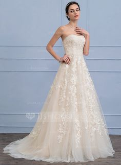 [US$ 320.19] A-Line/Princess Sweetheart Sweep Train Tulle Lace Wedding Dress With Beading Sequins