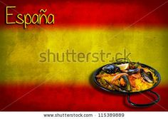 Traditional spanish dish: paella valenciana on spanish flag by MilaCroft, via ShutterStock