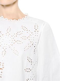 EMBROIDERED COTTON POPLIN TOP Luxury Shop, Isabel Marant, Poplin, Blouse, Lace, Long Sleeve, Sleeves, Cotton, Shopping