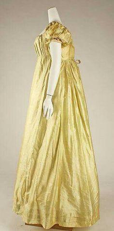 1812 ~ gold/yellow silk wedding dress - (jane austen era, fashion, clothes_