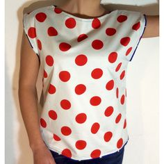 Red White polka dot shirt, Blouse, Women Tshirt Handmade, Unique, Made... (1.115 RUB) ❤ liked on Polyvore featuring tops, blouses, ruffle sleeve blouse, red polka dot shirt, white tops, red dot shirts and polka dot shirt