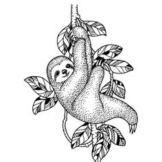 Sloth illustration royalty-free sloth illustration stock vector art & more images of laziness Body Art Tattoos, Tattoo Drawings, Cool Tattoos, Art Drawings, Sloth Tattoo, Tattoo Bein, Sloth Drawing, Wood Burning Art, Cute Sloth