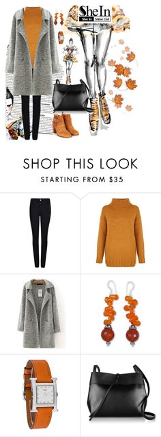 """Grey Coat"" by vbstyle88 ❤ liked on Polyvore featuring Giorgio Armani, NOVICA, Hermès, Kara and shein"