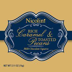 Nicolini Chocolates packaging- Caramel and Pecan Milk Chocolate Chocolate Squares, Chocolate Chocolate, Caramel Pecan, Chocolate Packaging, Design Packaging, Chocolates, Label, Milk, Branding