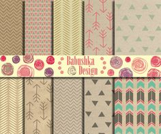 Tribal Patterns on Cardboard backgrounds  by babushkadesign, $4.50