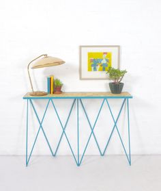 Vintage table lamp and a new steel powder coated console table called Giraffe by &New modern British furniture.