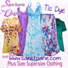 Cool Tie Dye dresses, shirts, pants, skirts, shorts, and swimwear in plus sizes for women. www.sanctuarie.com