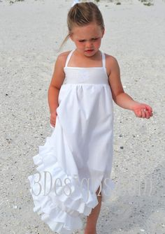 Girls Easter-Beach-Flower Girl Maxi White Ruffle Long Dress in sizes 18 mo 2T, 3T, 4T and girls 5, 6, 7, 8, 10 and 12. Toddlers-Girl-Teens