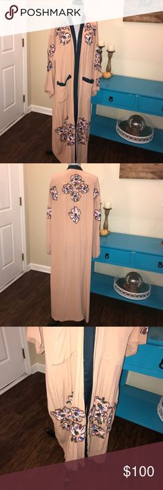 ⬇️Gorgeous Kimono!!! Amazing beaded and embroidered flowers on this soft salmon pink kimono with dark navy accents!!! Dry clean only! Worn once!!! Missing belt but does not need it! I wore it open with cream top and dark skinny jeans! Love this! Runs large for a medium! H&M Jackets & Coats Capes