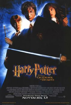 27x40 Inch Harry Potter and the Chamber of Secrets movie poster features Harry Potter holding the Sword of Gryffindor, Hermione Granger, and Ron Weasley. Get it now at http://harrypottermovieposters.com/product/harry-potter-and-the-chamber-of-secrets-movie-poster-style-c-27x40-inch/