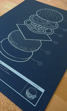 Food infographic This blueprint illustration, inspired by engineering drawings, indicates the app. Infographic Description This blueprint illustration, Design Graphique, Art Graphique, Layout Design, Print Design, Flat Design Poster, Crea Design, Design Industrial, Illustration Vector, Poster