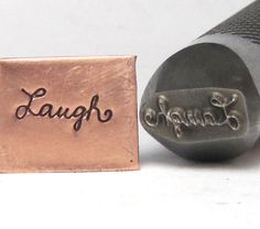 Cursive Laugh 1/2 shank design stamp professional grade for stainless 11 x 4 mm for all metals