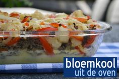 Bloemkool uit de oven One Dish Dinners, Good Food, Yummy Food, Oven Dishes, Oatmeal, Food And Drink, Snacks, Meals, Vegetables