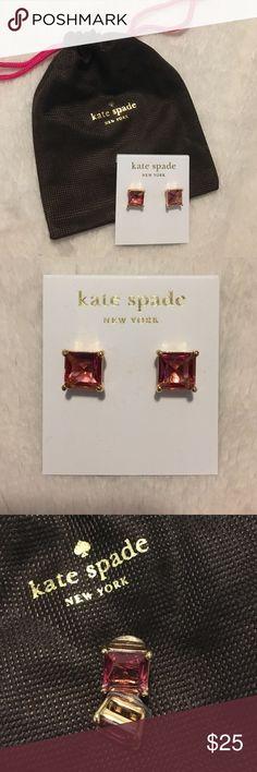 Pink Kate Spade studs Pink gem stud earrings with 14K gold fill. Great statement earrings! kate spade Jewelry Earrings