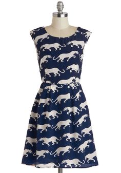 Paws a Commotion Dress. Your BFFs can always count on you to show up the crowd with your trendy fashion sense, but they havent seen anything until you saunter into the party while rocking this panther-printed dress! #blue #modcloth