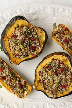 Stuffed Winter Squash with Cranberries, Quinoa, and Pistachios