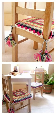 Crochet Square Patterns Crochet Granny Square Chair Cover with Tassels Free Pattern - If you are looking for patterns to bring your home into style, here are some Crochet Stool Cover Free Patterns to brighten up your stools and add some fun. Crochet Decoration, Crochet Home Decor, Diy Crochet, Crochet Crafts, Vintage Crochet, Granny Square Crochet Pattern, Crochet Squares, Crochet Patterns, Crochet Blocks