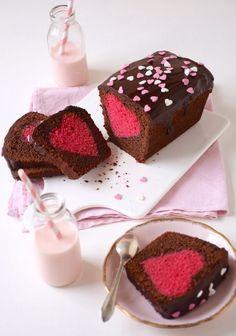 Cake surprise coeur St Valentin