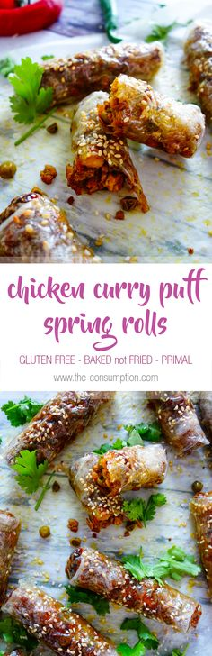 Crispy baked gluten free Chicken Curry Puff Spring Rolls full of flavour and perfect for lunch or entertaining! Gluten Free Pastry, Gluten Free Baking, Primal Recipes, Gluten Free Recipes, Rice Paper Rolls, Chicken Skewers, Gluten Free Chicken, Chicken Curry, Spring Rolls